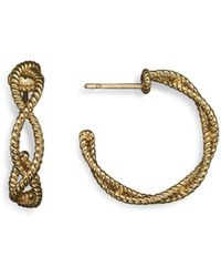 Roberto Coin - 18k Yellow Gold Twisted Hoop Earrings - Lyst