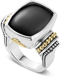 Lagos - 18k Gold And Sterling Silver Caviar Color Large Onyx Ring - Lyst