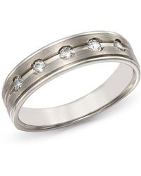 Bloomingdale's Men's Diamond Five - Stone Band In Brushed 14k White Gold