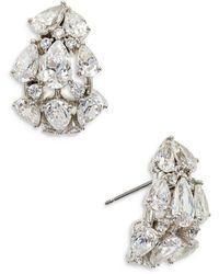 Nadri Chloe Multi Cut Cubic Zirconia J Hoop Earrings - Metallic