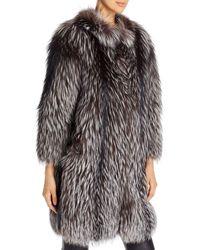 Maximilian Tipped Fox Fur Jacket - Metallic