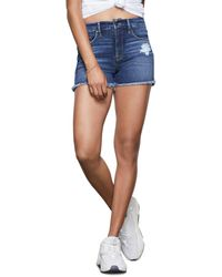 GOOD AMERICAN Cut - Off Denim Shorts In Blue364