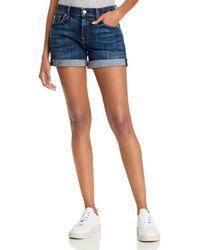 7 For All Mankind Midroll Denim Shorts In Broken Twill Plaza - Blue