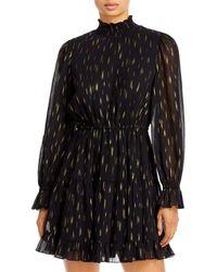 Aqua Mock Neck Ruffled Dress - Black