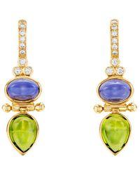 Temple St. Clair - 18k Yellow Gold Foglia Gemstone & Diamond Drop Earrings - Lyst