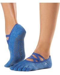 ToeSox Elle Full Toe Grip Yoga Socks - Blue