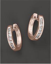 Bloomingdale's - Channel Set Huggie Hoop Earrings In 14k Rose Gold, .15 Ct. T.w. - Lyst