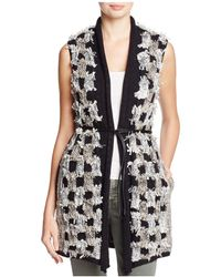 NIC+ZOE - Blocked Out Checker Knit Belted Vest - Lyst