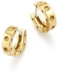 Roberto Coin 18k Yellow Gold Symphony Pois Moi Huggie Hoop Earrings - Metallic