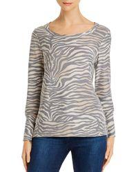 Chaser Split - Cuff Zebra Print Sweatshirt - Gray