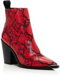 Kenneth Cole Women's West Side Snake Print Booties - Red