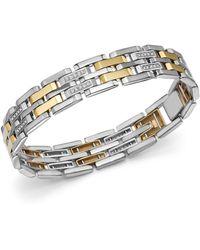 Bloomingdale's Diamond Men's Bracelet In 14k Yellow Gold & Sterling Silver - Metallic