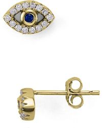 Aqua - Evil Eye Stud Earrings - Lyst