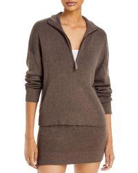 Monrow Half Zip Sweater - Brown