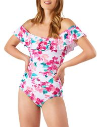Tommy Bahama Bougainvillea Off - The - Shoulder One Piece Swimsuit - White