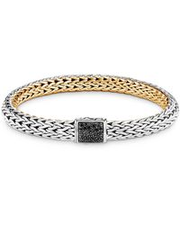John Hardy Sterling Silver & 18k Yellow Classic Chain Black Sapphire & Diamond Reversible Bracelet