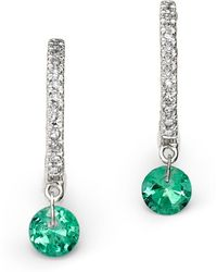 Meira T - 14k White Gold Emerald And Diamond Drop Hoop Earrings - Lyst