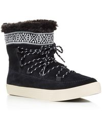 TOMS - Alpine Suede And Faux Fur Slipper Booties - Lyst