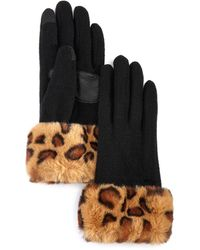 Echo Leopard - Print Faux Fur - Cuff Tech Gloves - Black