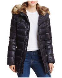 44e2dc24e6c6f Aqua - Faux Fur Trimmed Quilted Coat - Lyst