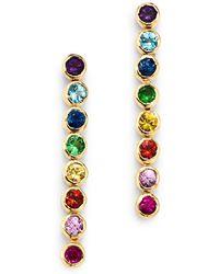 Shebee - 14k Yellow Gold Multicolour Sapphire Linear Drop Earrings - Lyst