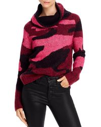 Aqua High/low Camouflage Turtleneck Sweater - Red