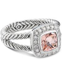 David Yurman Sterling Silver Petite Albion Ring With Morganite & Pavé Diamonds - Metallic