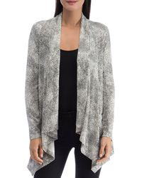 B Collection By Bobeau Amie French Terry Printed Cardigan - Gray