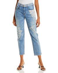 Hellessy Yang Embellished Cropped Jeans In Medium Wash - Blue