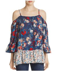 Beach Lunch Lounge - Floral Print Cold Shoulder Print Blouse - Lyst