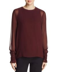 Go> By Go Silk Semi - Sheer Smocked Sleeve Blouse - Red