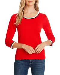 Cece Pompom Pullover Sweater - Red