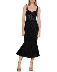 ML Monique Lhuillier Velvet Lace Midi Dress - Black