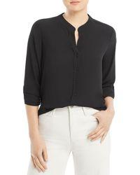 T Tahari Band Collar Shirt - Black
