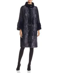 Maximilian Lamb Shearling Coat With Mink Fur Collar - Blue