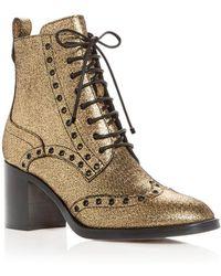 9a4bf7044 Jimmy Choo - Women's Hanah 65 Leather Wingtip Block-heel Booties - Lyst