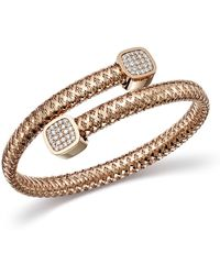 Roberto Coin - 18k Rose Gold Primavera Diamond Capped Bypass Bangle - Lyst
