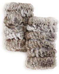 Jocelyn Plucked Rabbit Fur Fingerless Mittens - Multicolour