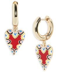 BaubleBar - Vida Multicolor Heart Charm Hoop Earrings In Gold Tone - Lyst