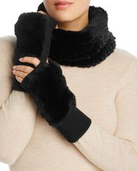 Jocelyn Knit Rabbit Fur Cowl & Rabbit - Fur Trim Fingerless Mittens - Black