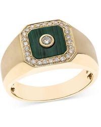 Bloomingdale's Malachite & Diamond Ring In 14k Yellow Gold - Metallic
