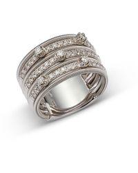 Marco Bicego 18k White Gold Diamond Multi Row Statement Ring