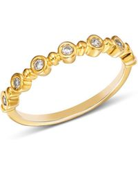 Bloomingdale's - Diamond Bezel Beaded Stacking Ring In 14k Yellow Gold - Lyst