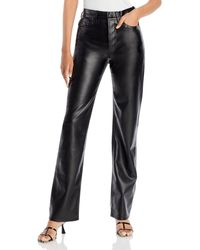 Anine Bing Kat Faux Leather Pants - Black