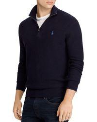 Polo Ralph Lauren Cotton Quarter - Zip Sweater - Blue