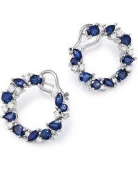 Bloomingdale's - Blue Sapphire & Diamond Circle Earrings In 14k White Gold - Lyst
