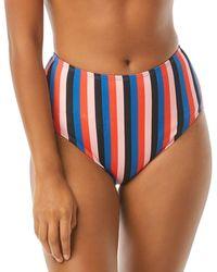Kate Spade Striped High Waist Bikini Bottom - Multicolour