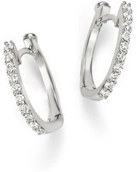 Roberto Coin 18k White Gold Small Diamond Hoop Earrings - Metallic