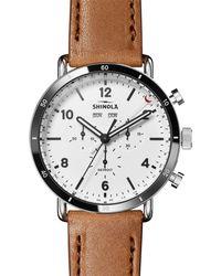 Shinola - Men's 45mm Canfield Sport 3-eye Chrono Calendar Watch W/ Leather Strap - Lyst