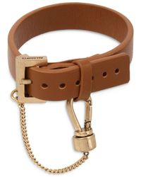 AllSaints Charm & Leather Bracelet In Gold Tone - Brown